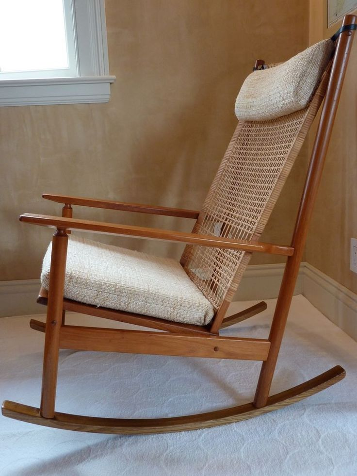 midcentury hans olsen teak and cane rocking chair