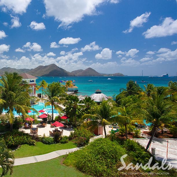 Look out to Rodney Bay at Sandals Grande St. Lucian.