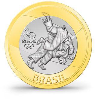 judô Rio2016 moeda comemorativa $1 real
