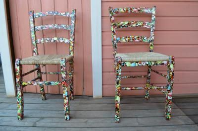 #Decopatch #decoupage chair #makeover using glue and paper. DIY decorate.