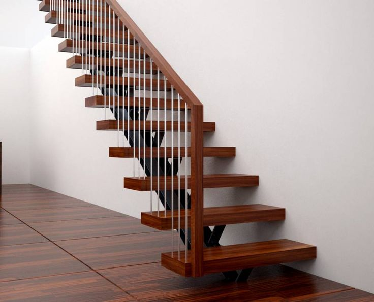 Single spine straight stair with wood handrail - Straight - Stairs