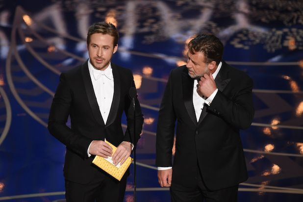 #RyanGosling proved he's lacking in the math department when he proclaimed that between himself and co-presenter #RussellCrowe they had 2 #Oscars.  Gosling has none, and Crowe only has one (for #Gladiator). 2016 #AcademyAwards