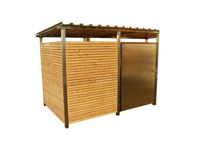HINWEIS : Die Abbildung zeigt das Mülltonnenhaus mit Holzverkleidung mit Türanschlag DIN links. Die Tür befindet sich standardmäßig auf der rechten Seite mit Türanschlag DIN rechts. Produktmerkmale: Hochwertige...