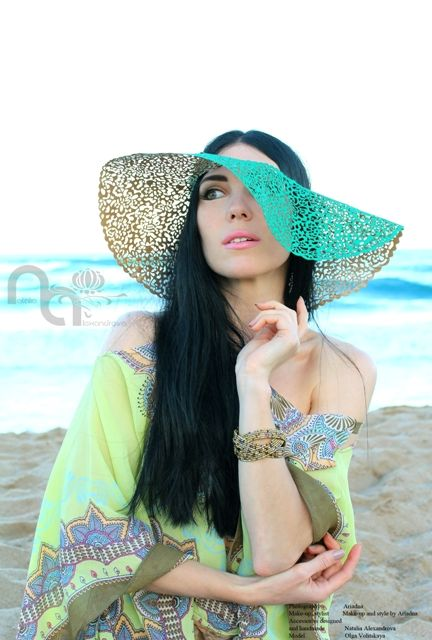 "Hat ""The hot south coast"" from manually perforated fabric. Designed & handmade by Natalia Alexandrova"