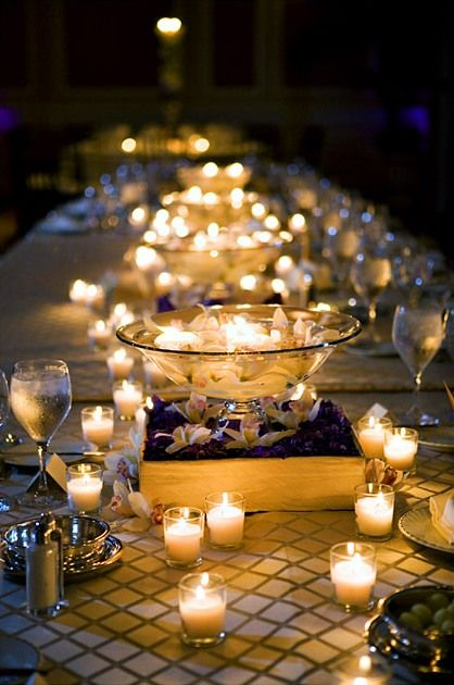 Shallow bowl, floating candles, and tealights