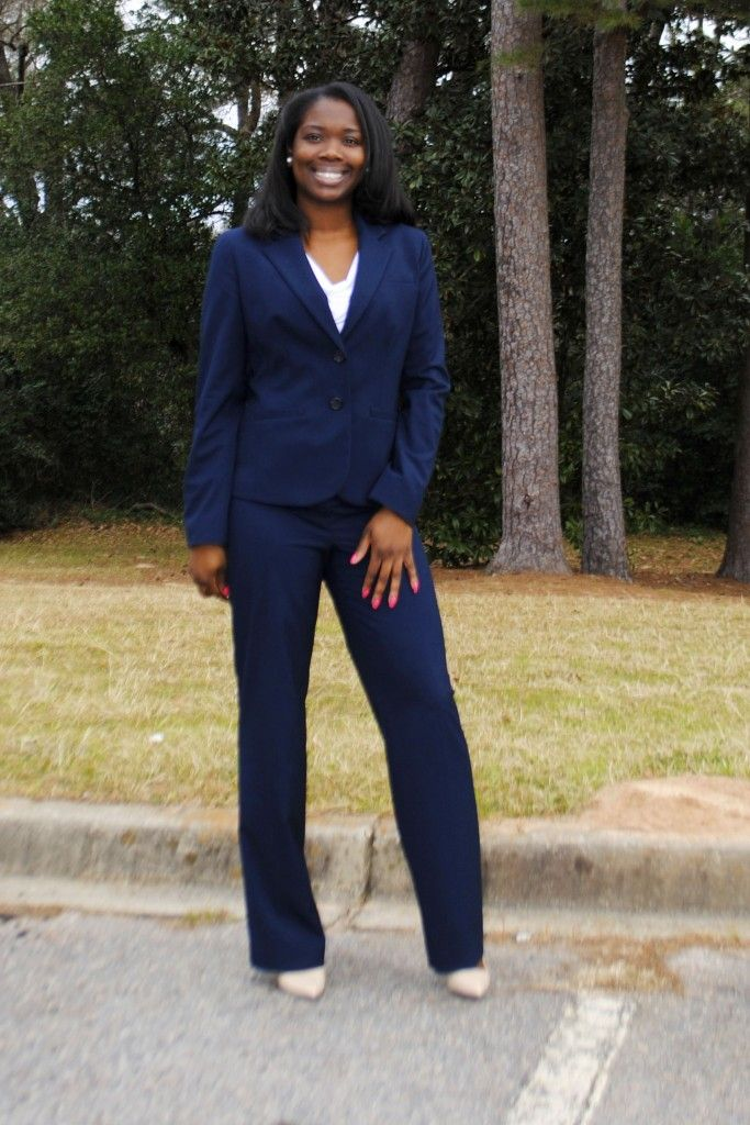 Business Suit, Business Casual Outfit, Work Outfit, Professional Outfit, Corporate Outfit, Navy Suit, Women's Pant Suit, Nude Pumps, White Blouse, Blue Suit