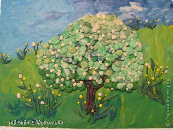 Весна, яблоня в цвету Аппликация из пластилина (+ обратная)  - мастер класс фото