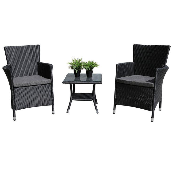 Outdoor Rattan Furniture Set Garden Table&Chairs w/ Cushions Black PE Wicker 3PC #Woohoho