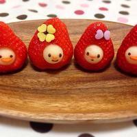 Strawberry and apple man...so cute...いちごマン(◍•ᴗ•◍)