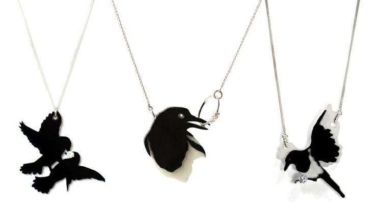 BLiNGBLiNGBLiNG bird necklaces with a story from designers Hartog&Henneman http://www.studiodewinkel.nl/mode/