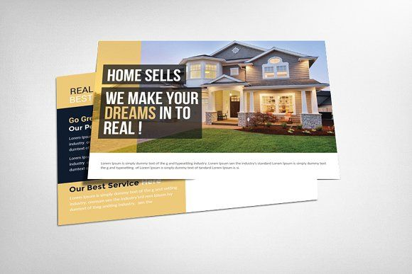 Real Estate Agent PostCard by Business Templates on @creativemarket