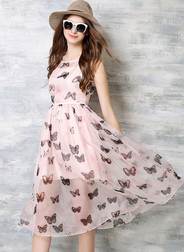 #floryday Organza Animal Sleeveless High Low Casual Dresses #summer #casual #dress #animal #highlow