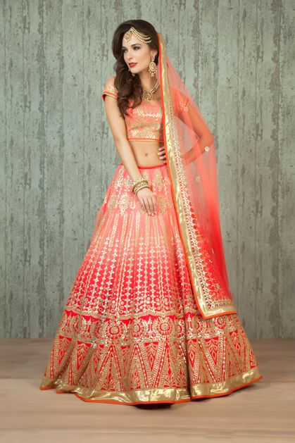 Ombre Lehenga for bridal wear. Nice website. Very High Prices. This one is gorgeous, has a beautiful ombre effect going on. Price is Rs.70000 which is OK IMO.