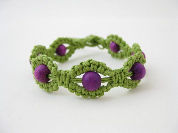 PATTERN Green and Purple Macrame Bracelet Pattern - Macrame Bracelet Tutorial…