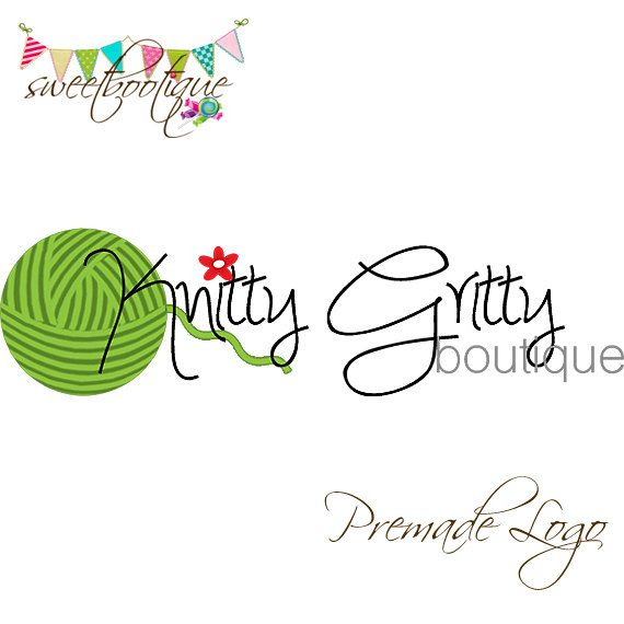 FULLY CUSTOMISABLE  Premade Logo  Knitty Gritty by SweetBootique