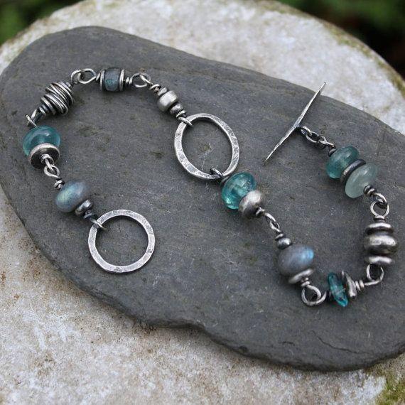 Silver Labradorite and Apatite bracelet by DeborahJonesJewelry