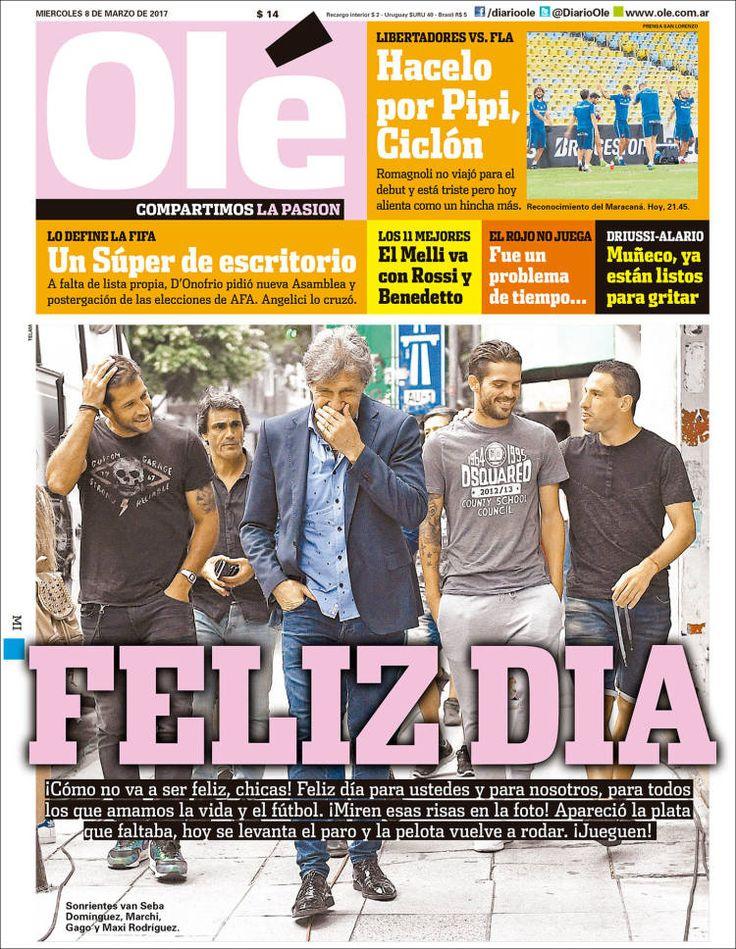 Portada del diario deportivo Olé del 08 de marzo de 2017