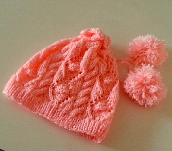 Baby HatBaby Knit Hat Pink Hat Newborn Photography Prop by SELINCE