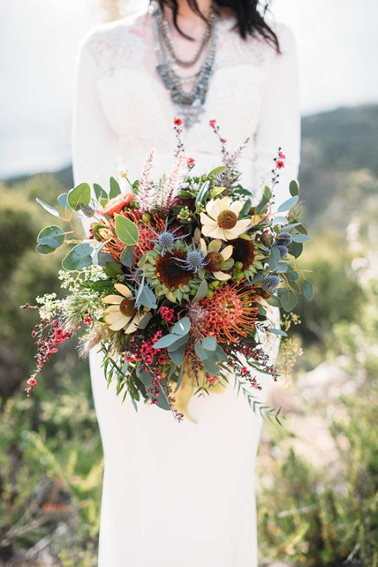 Stunning fynbos and Protea bridal bouquet #bouquet