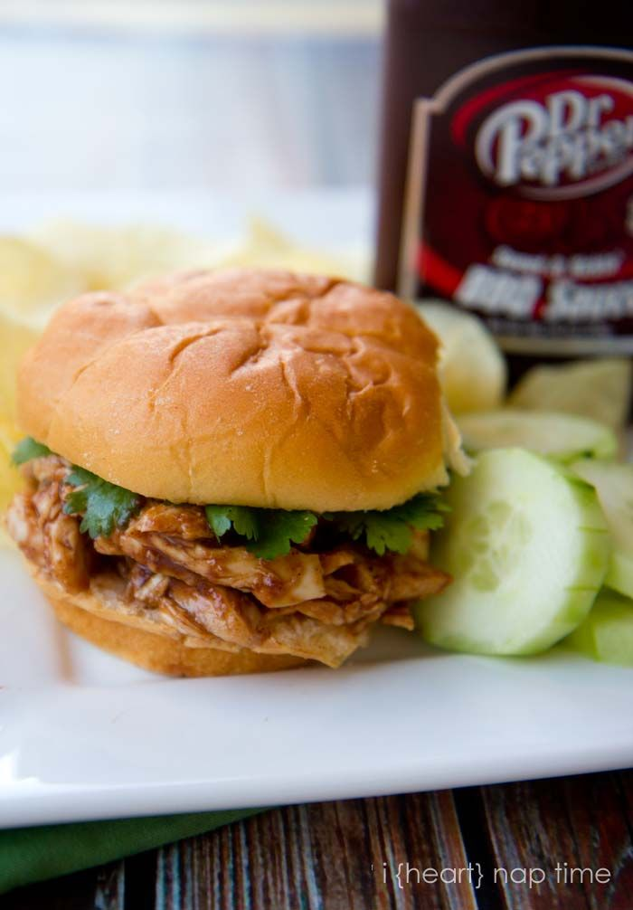 Delicious and easy Dr Pepper BBQ chicken sandwiches from iheartnaptime.net