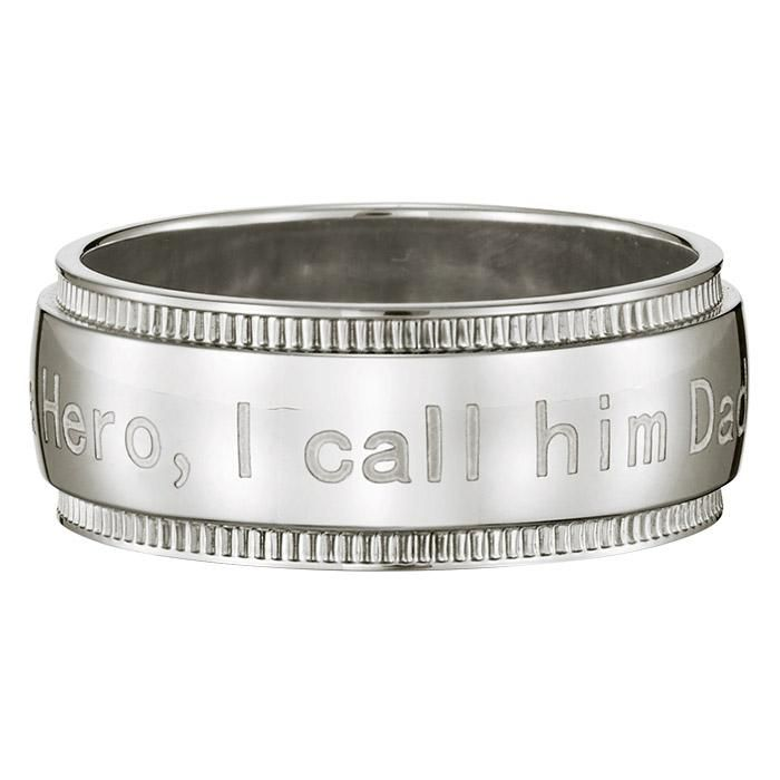 """Stainless Steel Men's I Call Him Dad Ring. Avon. Engraved with the message """" I have a Hero, I call him Dad"""", this is the perfect gift for Father's Day and to celebrate the hero inside. Available in sizes 8 - 12. Regularly $34.99.  NEW & NOW! FREE shipping with any $40 online Avon purchase.  #CJTeam #Hero #Avon #Style #Sale #Jewelry #Fashion #C12 #MensJewelry #ForHim #Mens #Ring #Dad #FathersDay #Stainless Shop Avon jewelry online @ www.TheCJTeam.com"""