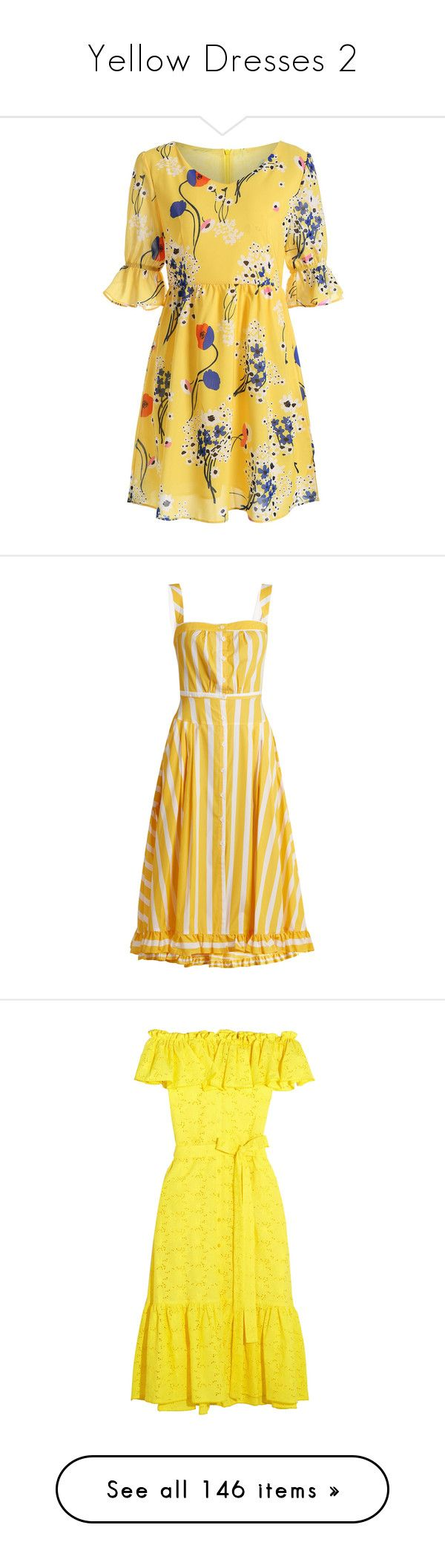 """""""Yellow Dresses 2"""" by impossiblehopes ❤ liked on Polyvore featuring dresses, v neck mini dress, yellow mini dress, flower print dress, floral dresses, v-neck dresses, yellow multi, sunflower yellow dress, woven dress and frill hem dress"""