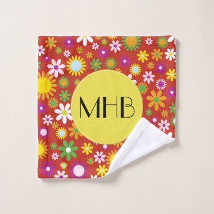 Monogram - Flowers Blossoms - Red Green Orange Bath Towel Set - purple floral style gifts flower flowers diy customize unique