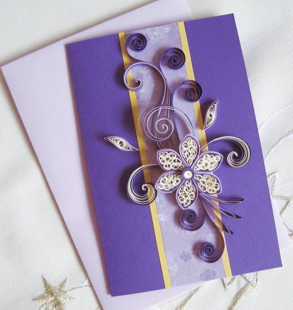 Best 176 quilled cards tags images on pinterest paper quilling birthday card girlfriend mom paper quilling card quilled flower purple thank you card m4hsunfo