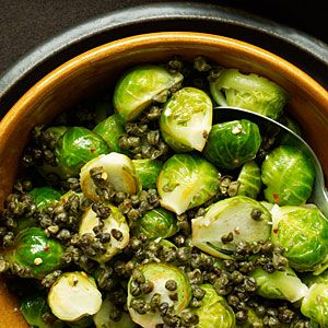 my favorite brussel sprouts recipe - spicy with capers. I don't use the anchovies though - it is still good!