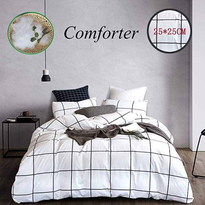 Amazon Com Wellboo White Comforter Sets Plaid Grid Cotton Bedding Queen Full Checkered Boy Girl Quil In 2020 White Comforter Black And White Bedspreads Comforter Sets