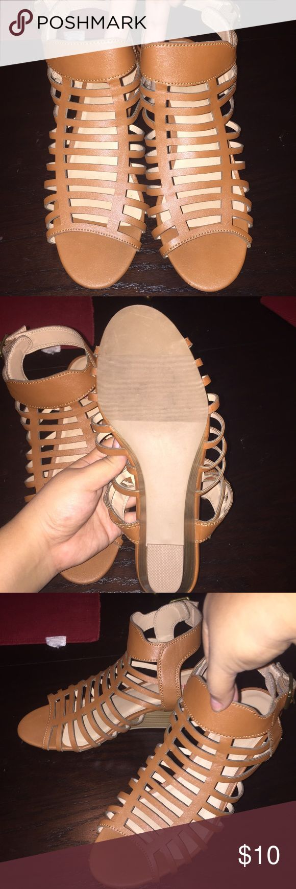 """Just Fab Wedges. Never worn wedges. """"Jesus sandal style"""" in size 9. JustFab Shoes Wedges"""