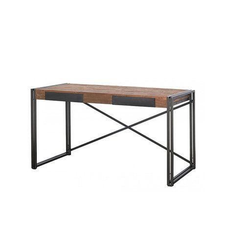Письменный стол из массива, столешница из антикварного тика, металлические ноги, два небольших удобных ящика.