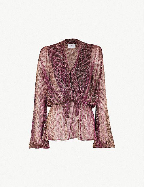 b537306851889 FOREVER UNIQUE Metallic neck-tie woven blouse