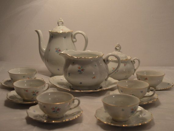 Vintage coffee set Floral porcelain coffee set by KrisztinaVintage