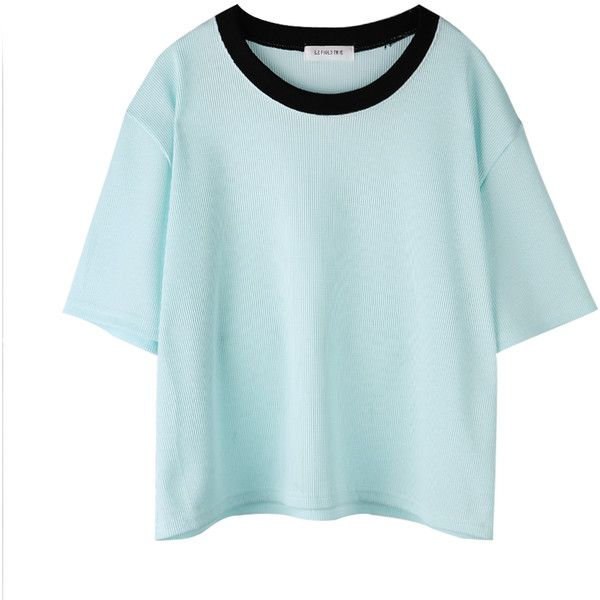 ALAND ❤ liked on Polyvore featuring tops, t-shirts, shirts, t shirts, tee-shirt, blue tee, blue t shirt, blue shirt and blue top