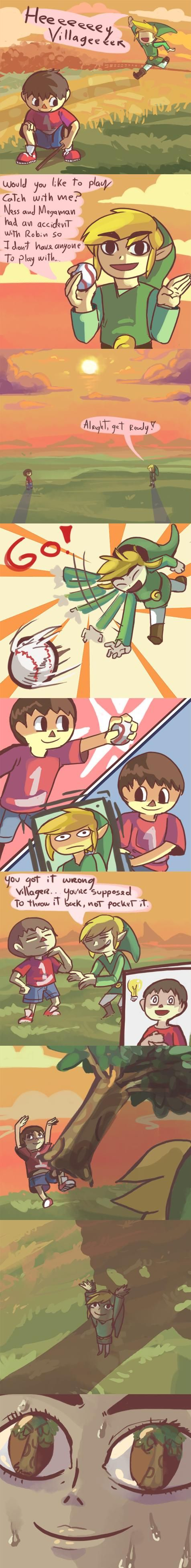 Poor Toon Link...but seriously, how much stuff is in Villager's pockets I wonder...?