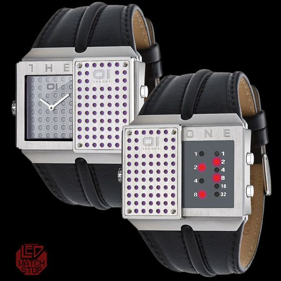 AN AMAZING DEAL!!  01 THE ONE SLIDER - Dual Time watch - Silver/Red  Was $259, Now only $90.65