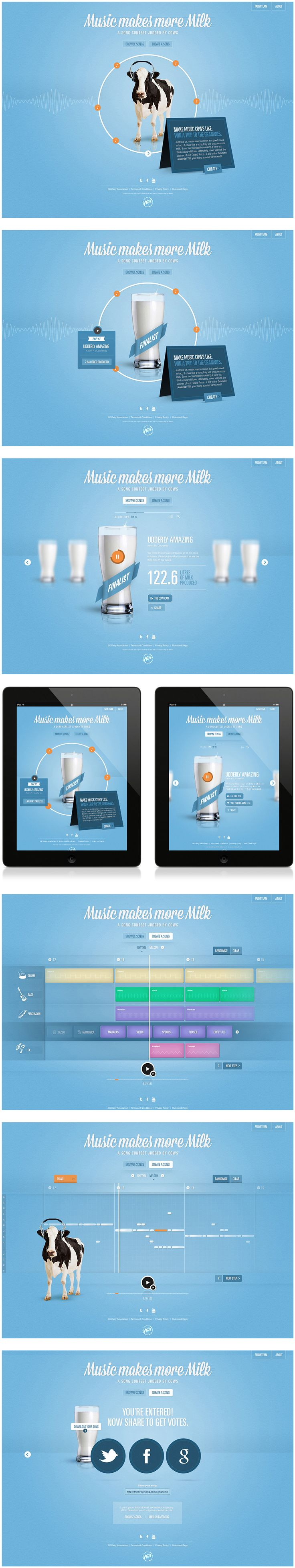 Cool Web Design on the Internet, Music Makes More Milk. http://www.pinterest.com/alfredchong/web-design/ more on http://html5themes.org