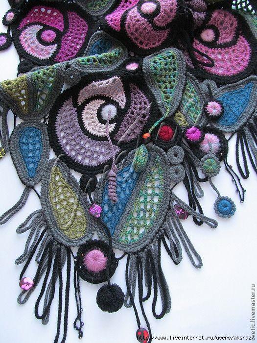freeform crochet motif scarf