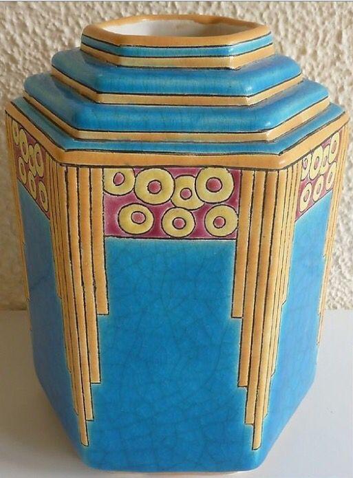 Longwy Art Deco hexagonalis váza