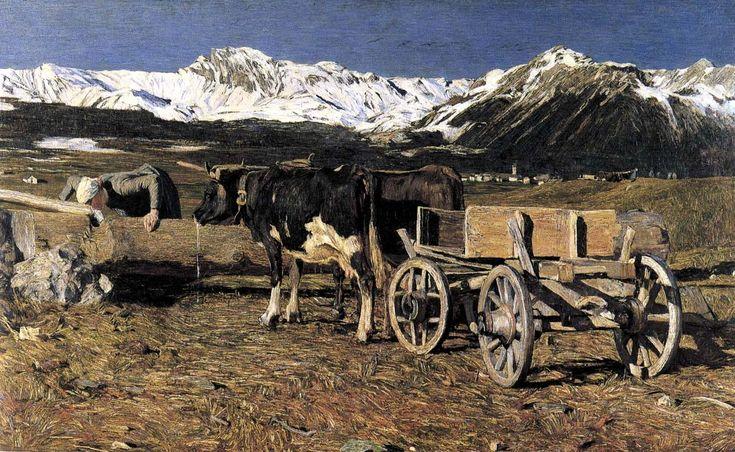 Segantini (b 15 Jan 1858) Kühe an der Tränke 1888.jpg