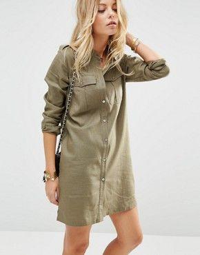 Льняное платье‑рубашка в стиле милитари ASOS