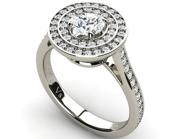 Halo Diamond 0.95 ct Ring with Side Accents 18K White Gold - Paul Jewelry