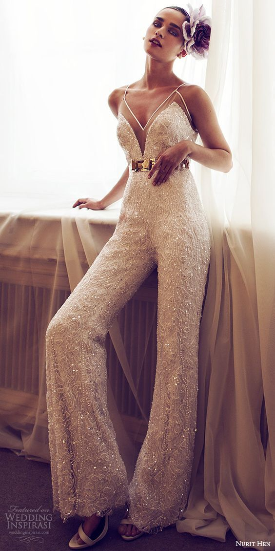 NURIT HEN 2016 bridal sleeveless sweetheart spaghetti strap jumpsuit wedding dress / http://www.deerpearlflowers.com/deep-plunging-v-neck-wedding-dresses/2/