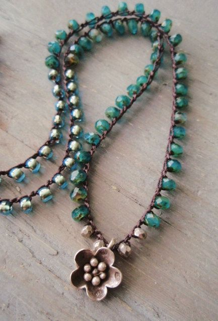 Teal Green Crochet Necklace