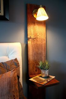 Wall Mounted Lamp And Bedside Table Made From Pallets  -  #palletprojects  ---  #pallets   ----   http://alittlebitofthisthatandeverything.blogspot.com/