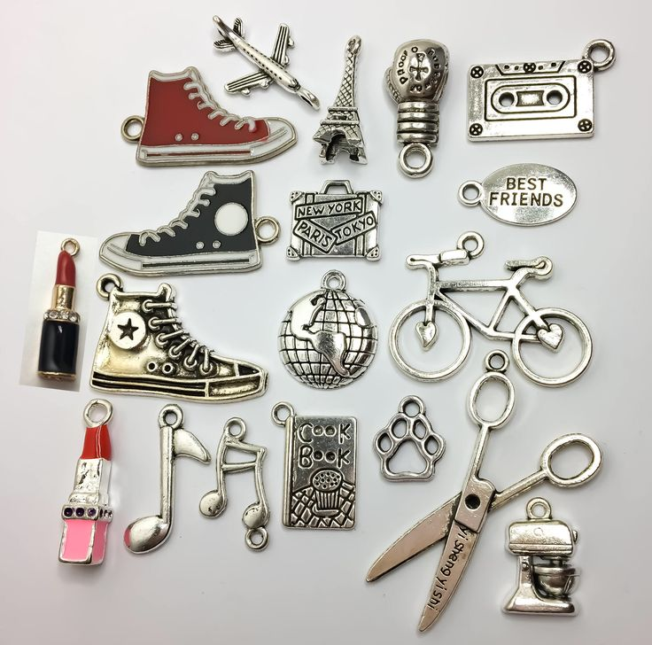 Lifestyle Charms, Travel, Music Note, Charms, Baking, Eiffel Tower, Bicycle, Lipstick, Scissors, Lipstick Charm, Aiplane Charm, Boxing Glove by MissFitBoutiqueCA on Etsy https://www.etsy.com/ca/listing/549476778/lifestyle-charms-travel-music-note