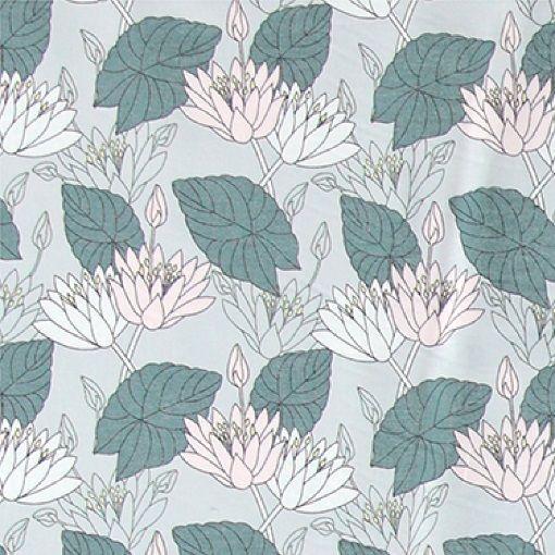 Bomuld lys grå med lotus blomster