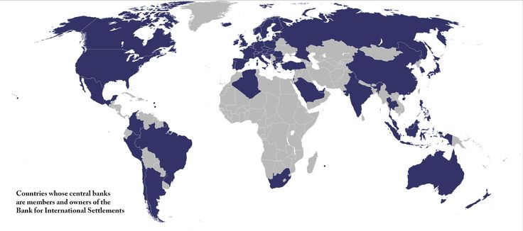The peculiar thing about the Bank for International Settlements (BIS) is that it's the only financial institution which is owned by a global network of central banks; the map shows the 60 countries whose central banks are members of BIS, representing 95% of global GDP