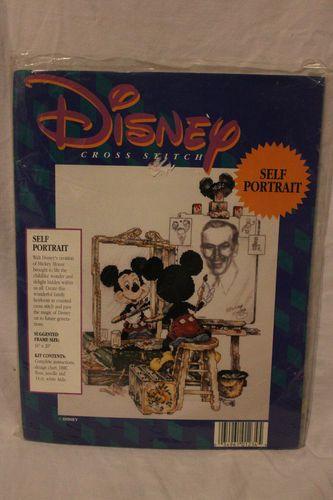 Disney Self Portrait Cross Stitch Kit Mickey And Walt